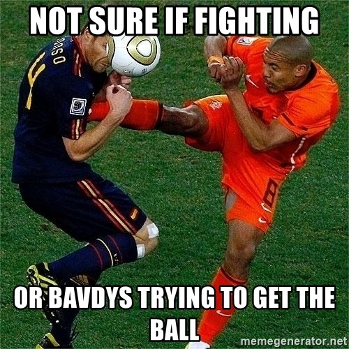 Netherlands - Not sure if fighting or bavdys trying to get the ball
