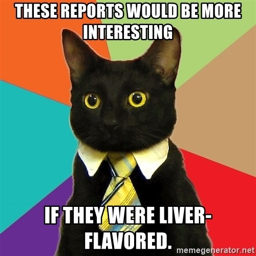 Business Cat - these reports would be more interesting if they were liver-flavored.