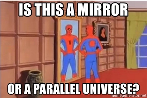 Spiderman Mirror - Is this a mirror or a parallel universe?