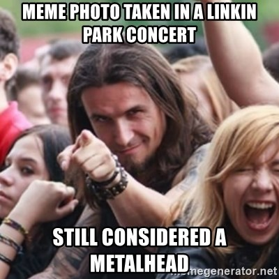 Ridiculously Photogenic Metalhead - MEME photo taken in a linkin park concert still considered a metalhead