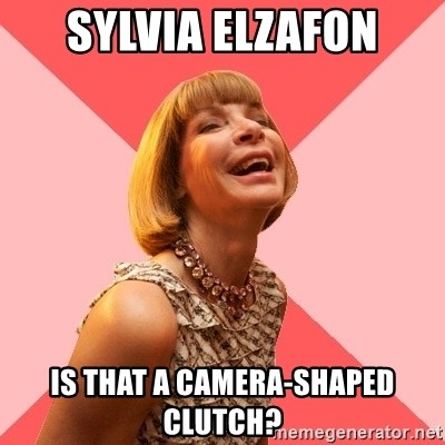 Amused Anna Wintour - sylvia elzafon is that a camera-shaped clutch?