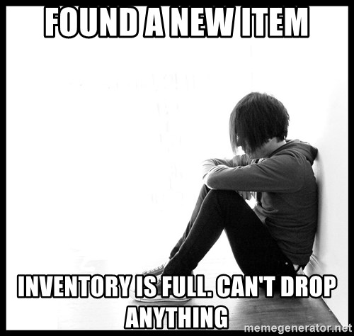First World Problems - found a new item inventory is full. can't drop anything