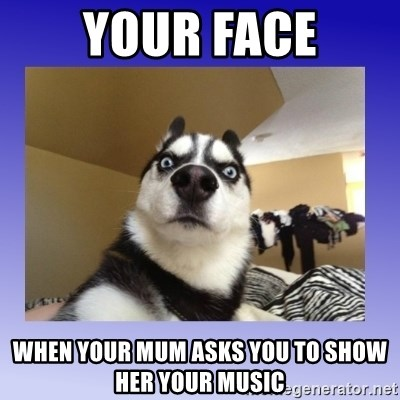 Dog Surprise - Your face When your mum asks you to show her your music