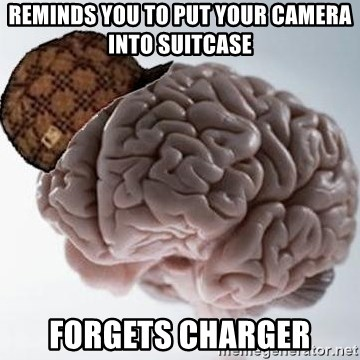 Scumbag Brain - Reminds you to put your camera into suitcase forgets charger