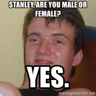Stoner Stanley - stanley, are you male or female? yes.