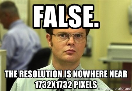 Dwight Schrute - false. the resolution is nowhere near 1732x1732 pixels