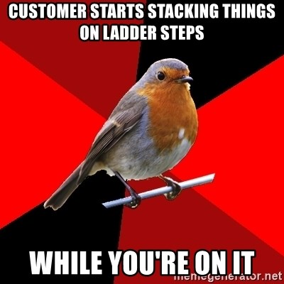 Retail Robin - customer starts stacking things on ladder steps while you're on it