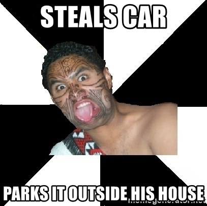 Maori Guy - steals car parks it outside his house