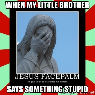 Jesus Facepalm - WHEN MY LITTLE BROTHER SAYS SOMETHING STUPID