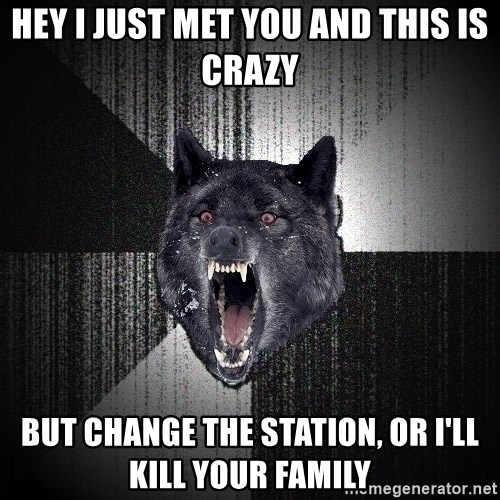 Insanity Wolf - Hey I just Met you and this is crazy but Change the station, or i'll kill your family
