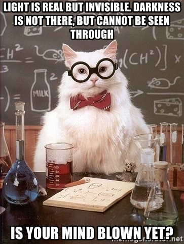 Chemistry Cat - Light is real but invisible. darkness is not there, but cannot be seen through is your mind blown yet?