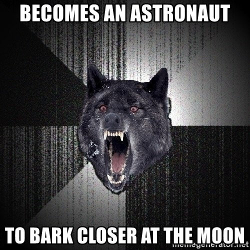 Insanity Wolf - becomes an astronaut to bark closer at the moon