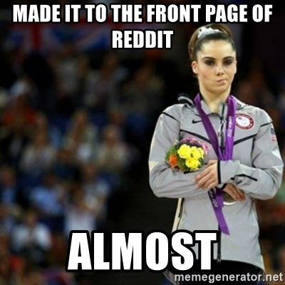 unimpressed McKayla Maroney 2 - made it to the front page of reddit almost