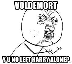 Y U SO - VOLDEMORT Y U NO LEFT HARRY ALONE?