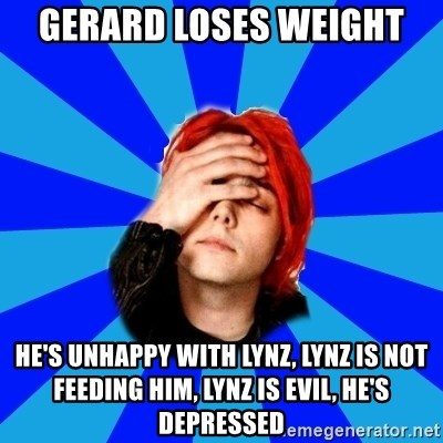 imforig - gerard loses weight he's unhappy with lynz, Lynz is not feeding him, lynz is evil, he's depressed