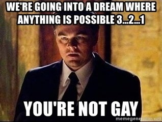 inception - we're going into a dream where anything is possible 3...2...1 you're not gay