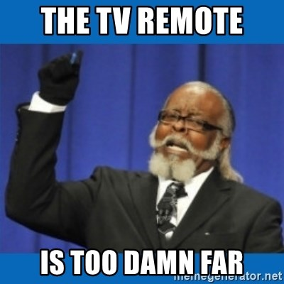 Too damn high - The TV remote  is too damn far