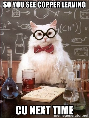 Chemistry Cat - so you see copper leaving cu next time
