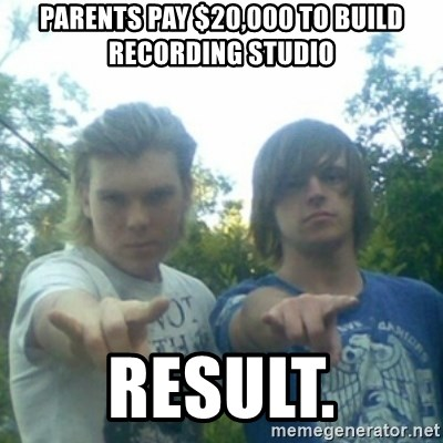 god of punk rock - parents pay $20,000 to build recording studio result.
