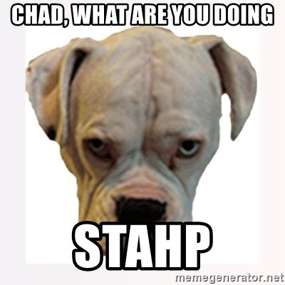 stahp guise - CHAD, WHAT ARE YOU DOING STAHP