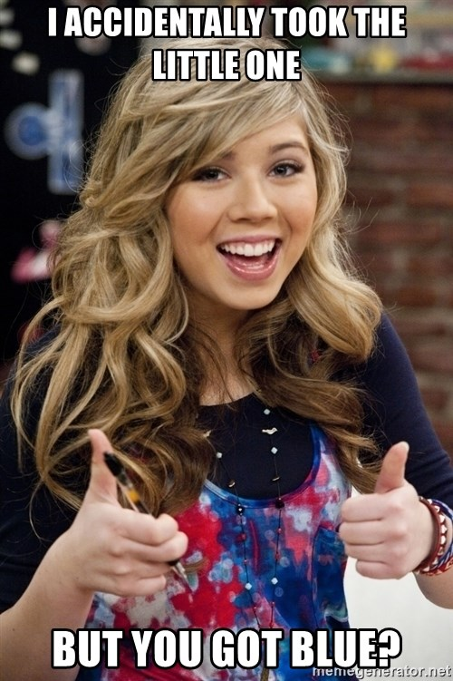 sucess sam puckett - I accidentally took the little one But you got blue?