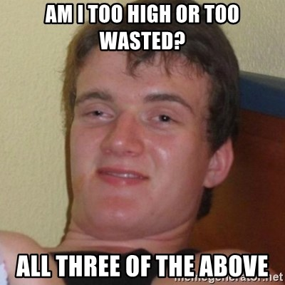 Really highguy - aM I TOO HIGH OR TOO WASTED? ALL THREE OF THE ABOVE