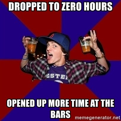 Sunny Student - Dropped to zero hours Opened up more time at the bars