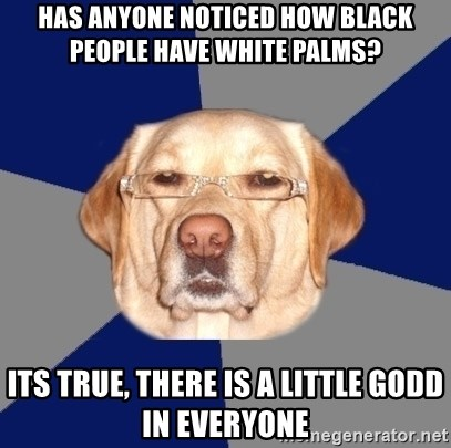 Racist Dawg - Has anyone noticed how black people have white palms? Its true, there is a little godd in everyone