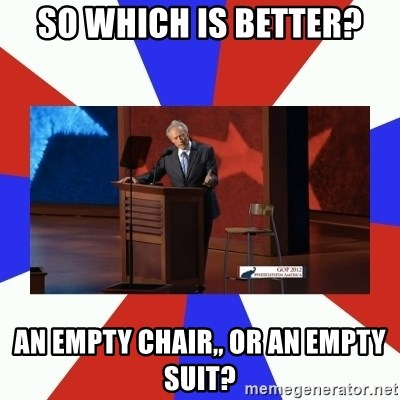 Invisible Obama - So which is better? an Empty chair,, or an empty suit?