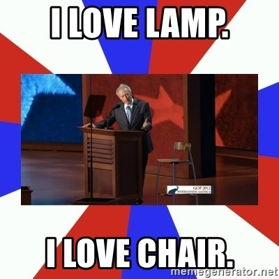 Invisible Obama - I love lamp. I love chair.