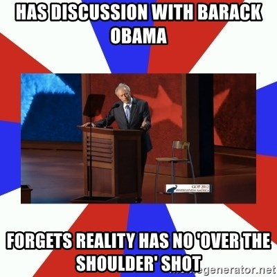 Invisible Obama - has discussion with barack obama forgets reality has no 'over the shoulder' shot