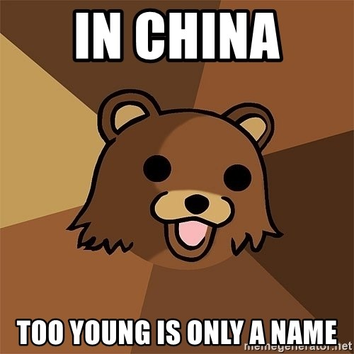 Pedobear81 - in china  too young is only a name
