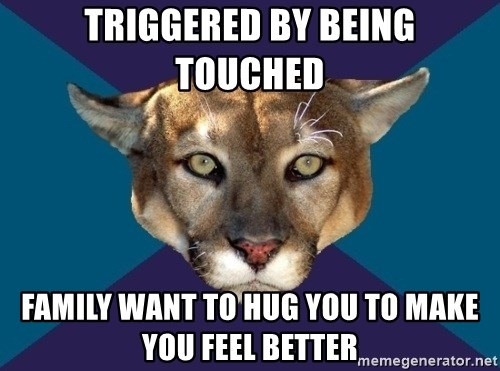 PTSD PUMA - Triggered by being touched Family want to hug you to make you feel better