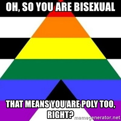 Bad Straight Ally - OH, SO YOU ARE BISEXUAL THAT MEANS YOU ARE POLY TOO, RIGHT?