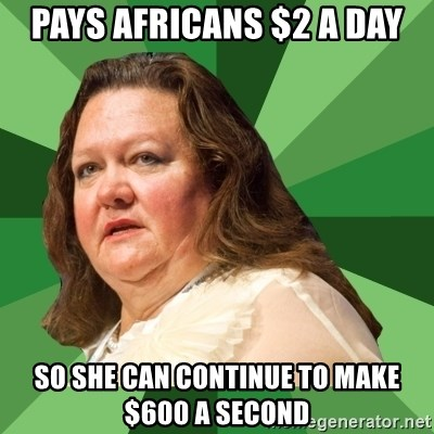 Dumb Whore Gina Rinehart - Pays africans $2 a day so she can continue to make $600 a second