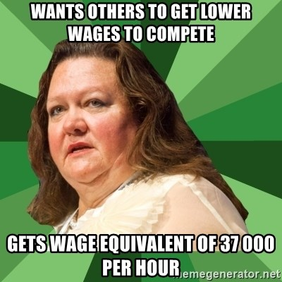 Dumb Whore Gina Rinehart - wants others to get lower wages to compete gets wage equivalent of 37 000 per hour