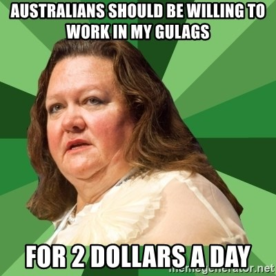 Dumb Whore Gina Rinehart - australians should be willing to work in my gulags for 2 dollars a day