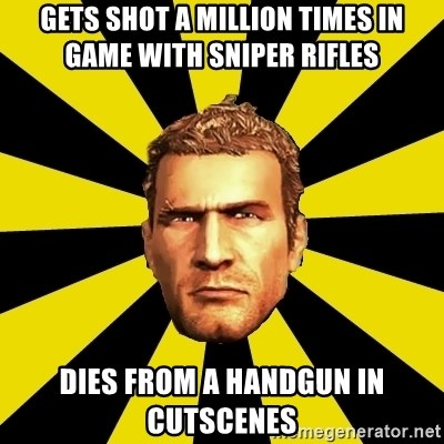 Chuck Greene - Gets shot a million times in game with sniper rifles Dies from a handgun in cutscenes