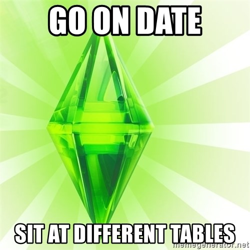 Sims - go on date sit at different tables