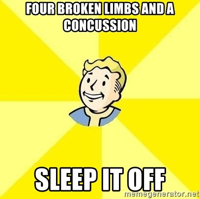 Fallout 3 - Four broken limbs and a concussion Sleep it off