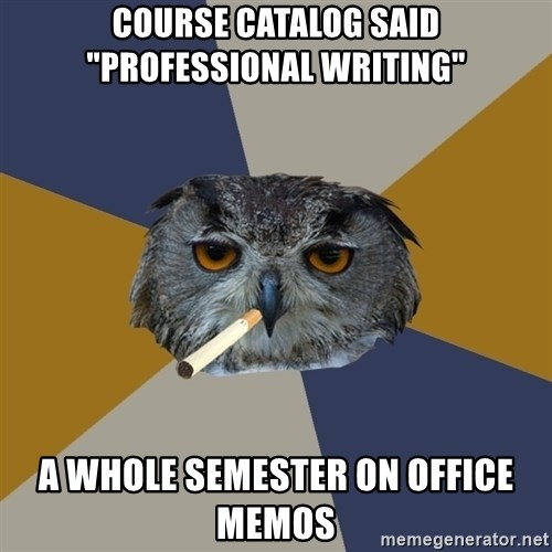 """Art Student Owl - Course catalog said """"Professional writing"""" A whole semester on office memos"""