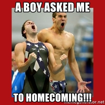 Ecstatic Michael Phelps - a boy asked me to homecoming!!!