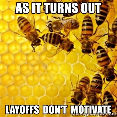 Honeybees - as it turns out layoffs  don't  motivate