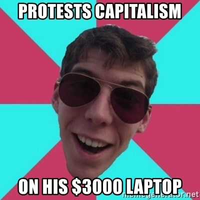 Hypocrite Gordon - protests capitalism on his $3000 laptop