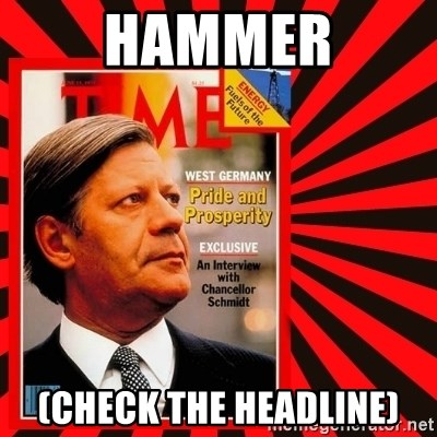 Helmut looking at top right image corner. - HAMMER (CHECK THE HEADLINE)