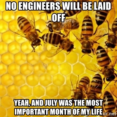 Honeybees - No engineers will be laid off yeah, and july was the most important month of my life