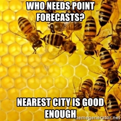 Honeybees - who needs point forecasts? nearest city is good enough