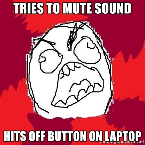 Rage FU - TRIES TO MUTE SOUND HITS OFF BUTTON ON LAPTOP