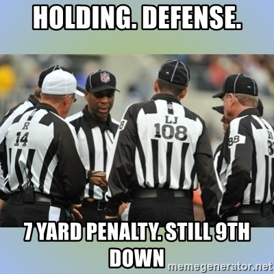 NFL Ref Meeting - holding. defense. 7 yard penalty. still 9th down