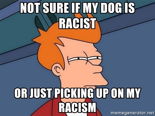 Futurama Fry - Not sure if my dog is racist or just picking up on my racism